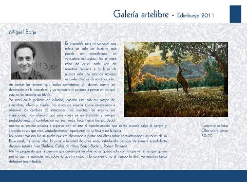El próximo 29 de Octubre se expondrá en Edimburgo parte de la obra del escultor y pintor de la Naturaleza Miguel Borja Bersabé.