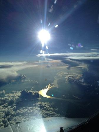 Fotografía aérea del río Amazonas al oeste de Manaos.  El Aviador Enmascarado.