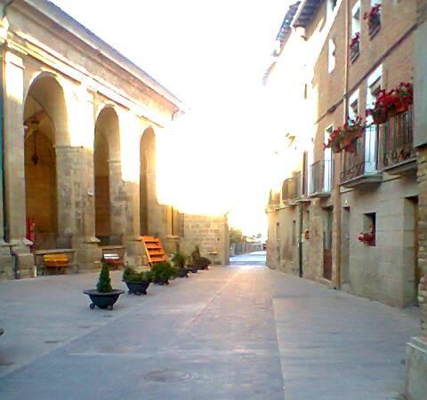 Pasean la calle principal que es el Camino de Santiago de Los Arcos en Navarra.  Carlos