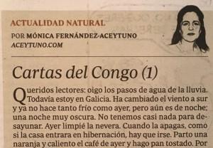 """Primera carta de """"Cartas del Congo"""" publicada en el ABC de papel del sábado 9-12-2016"""