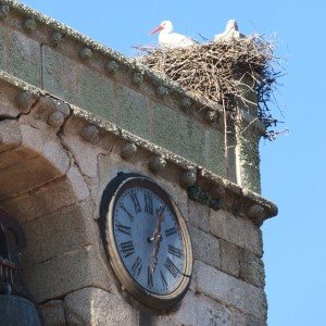 El reloj, la cigüeña y la campana en Fuentes de Béjar, Salamanca, el 1 de enero de 2017